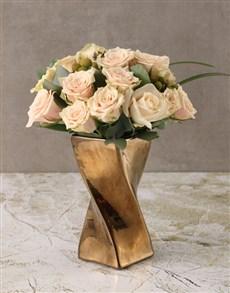 flowers: Cream Roses in Twisty Vase!