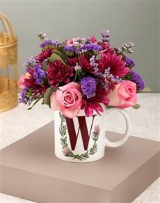 flowers: Personalised Initial Wreath Flowers In Mug!