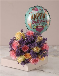 flowers: Happy Birthday Rose Bouquet with Balloon!