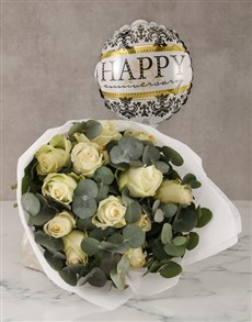 gifts: White Roses with Happy Anniversary Balloon!