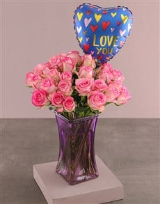gifts: Lovely Pink Roses In Vase!