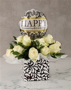 flowers: Anniversary White Roses in Box with Balloon!