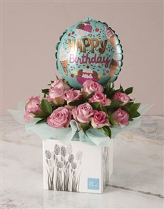 gifts: Pink Birthday Roses and Balloon Arrangement!