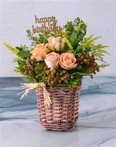 flowers: Happy Birthday Peach Rose Blossoms!