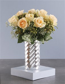 flowers: Peach Roses In Twirl Cylinder Vase!
