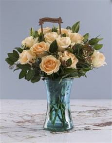 flowers: Happy Birthday Peach Roses In Blue Cylinder Vase!