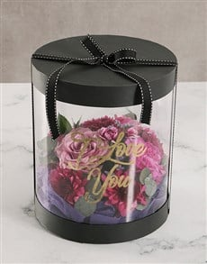 flowers: I Love You Pink Floral Mix Hat Box!