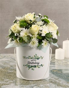 flowers: Happy Birthday White Floral Mix White Hat Box!
