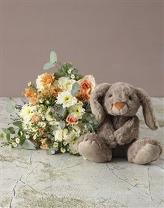 flowers: Mixed Pastel Flowers with Teddy!