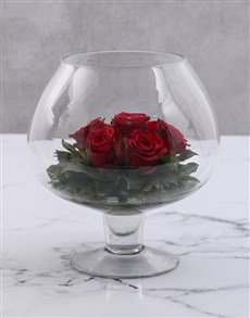 flowers: Red Roses In Wine Glass Vase!