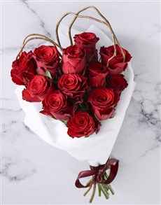 gifts: Red Roses In White Wrapping!