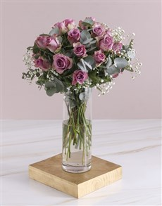 flowers: Lilac Roses In Small Cylinder Vase!
