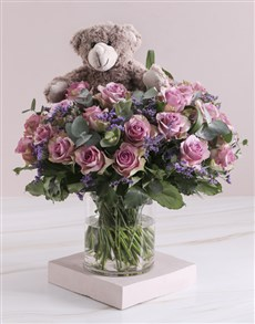 flowers: Lilac Rose Combo In Clear Vase!