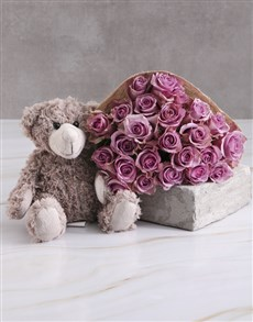 flowers: Lilac Roses With Teddy Bear!