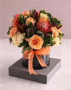 flowers: Autumnal Rose and Protea Arrangement!