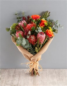 flowers: Regal Red and Pincushion Protea Bouquet!