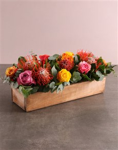 gifts: Vibrant Pincushion Protea and Rose Arrangement!