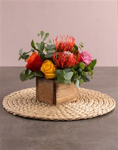 flowers: Lively Pincushion Protea and Rose Arrangement!
