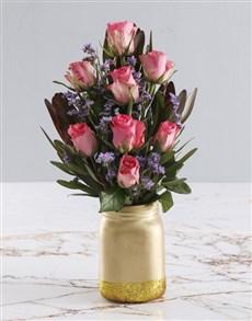 flowers: Pretty Pink Roses In Jar Vase!