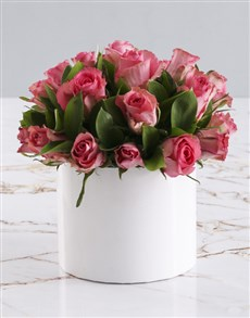 flowers: Pink Rose Burst In Hat Box!