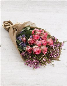 flowers: Perfect In Pink Rose Bouquet!
