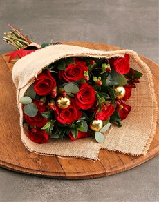 flowers: Red Roses with Golden Baubles!