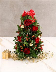 flowers: Red Roses with Golden Christmas Baubles!