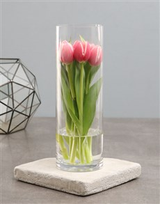 flowers: Standing Tulips In Cylinder Vase!