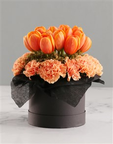 flowers: Orange Tulips In Hat Box!