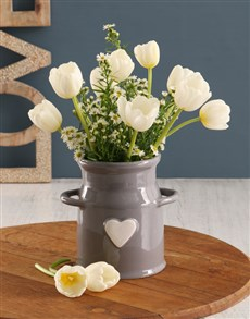 gifts: White Tulips In Milk Can Vase!