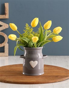 flowers: Yellow Tulips In Milk Can Vase!