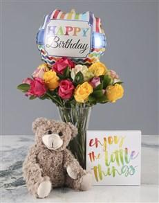 gifts: Mixed Roses Happy Birthday Combo!