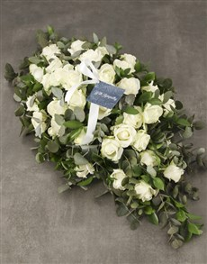 flowers: White Roses Sympathy Coffin Spray!