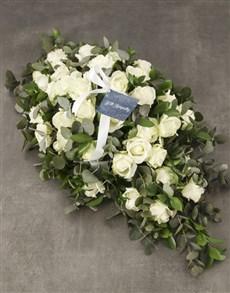 flowers: White Roses Sympathy Coffin Spray!