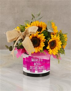 flowers: Worlds Best Secretary Sunflower Arrangement!