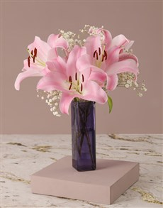 gifts: Stargazer Lilies in Square Vase!