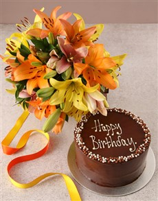 flowers: Mixed Lilies with Birthday Cake !