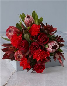 flowers: Mixed Proteas and Red Roses!