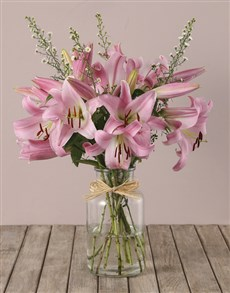 flowers: Stargazer Lilies and Asters Vase Arrangement!