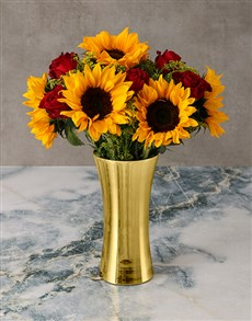 flowers: Glowing Sunflowers and Roses in Golden Vase!