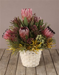 flowers: Basket Of Treasures Mixed Protea Bouquet!