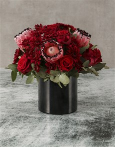 flowers: Pink Proteas and Red Rose Bouquet!