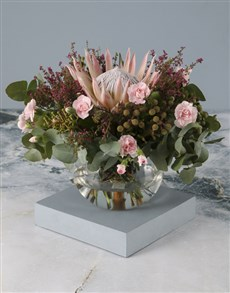 flowers: Regal King Protea and Pink Carnation Bouquet!