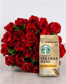 flowers: Red Roses Bouquet with Coffee!