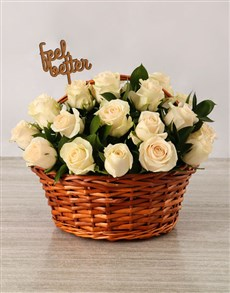 flowers: Get Well Cream Roses Basket!