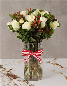 flowers: Tis The Season White Rose Bouquet!