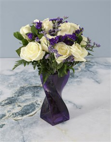 flowers: Purple Pleasures White Rose Arrangement!