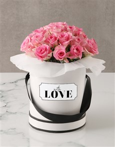 flowers: Pink Roses in Love Hatbox!