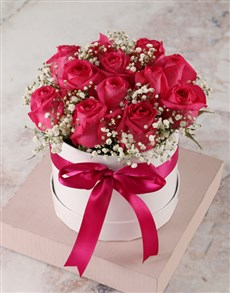 flowers: Stunning Cerise Rose Hat Box!