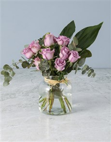 flowers: Jar of Lilac Roses!